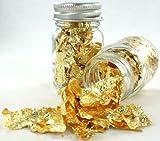Zink Color Gold Leaf Flake Elegant Eye Body Makeup 1 oz Glass Bottle