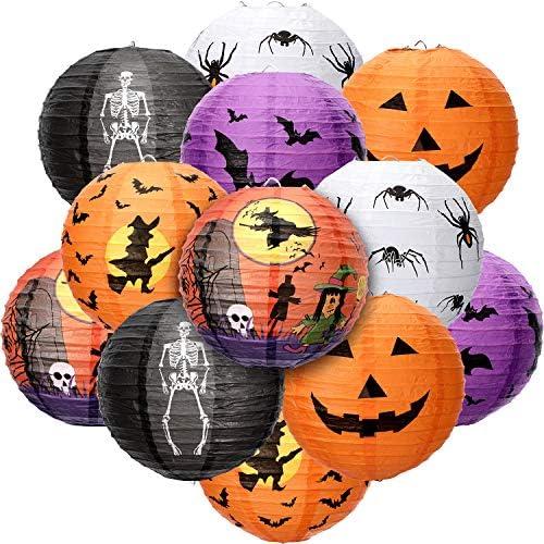 12 Pieces Halloween Paper Lanterns Halloween Hanging Lanterns Decorative Pumpkin Lantern Spider product image