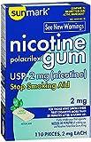 Sunmark Nicotine Polacrilex Gum 2 mg Mint Flavor - 110 ct, Pack of 3