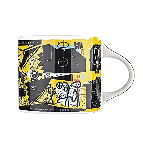 XIAOLINGTONG Taza de cerámica 350 ml tazas de café microondas calefacción Posible taza de porcelana para oficina y regalo de salud en el hogar, fantasía negra