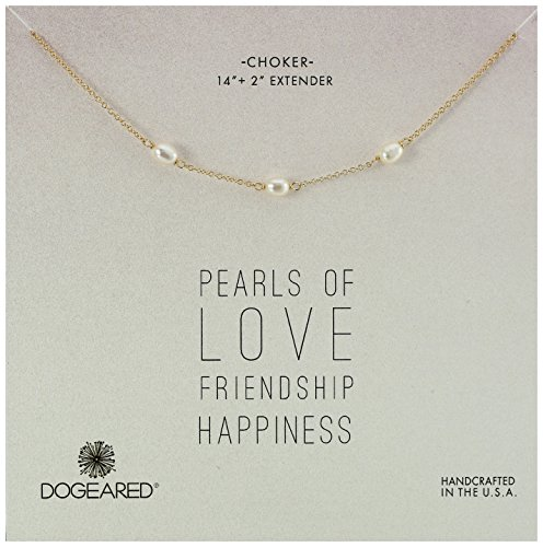 Dogeared Pearls of Triple Pearl Gold Choker Necklace, 14