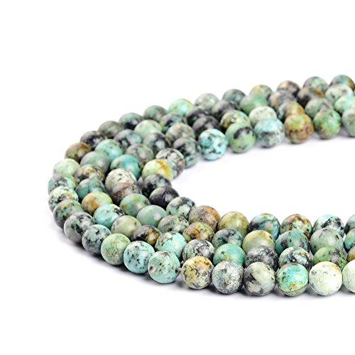 Ruilong - Perles turquoises naturelles africaine pour la confection de bijoux (2 mm 3 mm 4 mm 6 mm 8 mm 10 mm 12 mm), turquoise, 12 mm