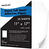 Milcoast Glossy 11' x 17' Sticker Adhesive Paper Labels Crafts Posters for Laser/Inkjet Printers (20 Sheets)