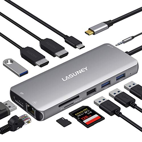 Lasuney USB C Docking Station, 12 in 1 USB C Dock with 2 HDMI & DP, PD3.0, Ethernet, SD TF Card Reader, 4 USB Ports, Mic/Audio, Type C Hub Adapter Dongle Compatible for MacBook Air Pro iPad and More