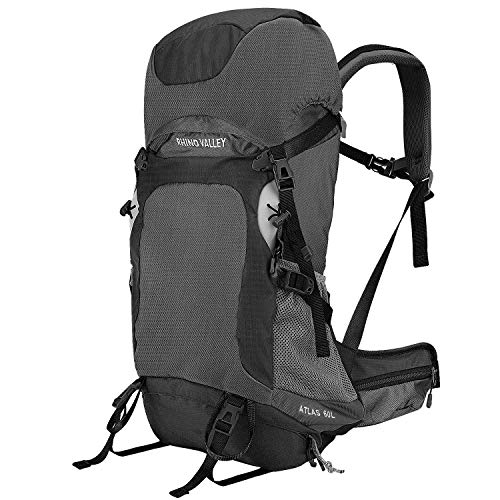 Rhino Valley Travel Backpack, 60L Large Hiking Backpack Lightweight Trekking Bag with Rain Cover for Climbing, Hunting, Cycling, Outdoor Activities - Black + Grey