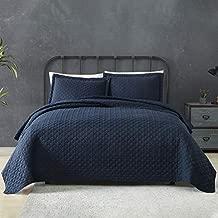 TEMPCORE Quilt Queen Size Navy Blue 3 Piece,Microfiber Lightweight Soft Bedspread Coverlet for All Season,Full/Queen Navy Blue,(1 Quilt,2 Shams)