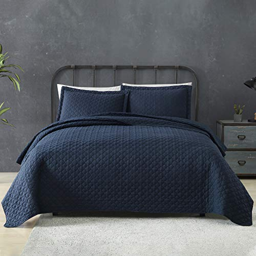 Tempcore Quilt Queen Size Navy Blue 3 Piece,Microfiber Lightweight Soft Bedspread Coverlet for All Season,Full/Queen Navy Blue,(1 Quilt,2 Shams)