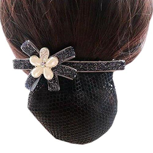 Ladies Bowtie Mesh Elastique Bun Couverture Hairnets Hair Snood, Fleur d'argent Bleu foncé, maille fine