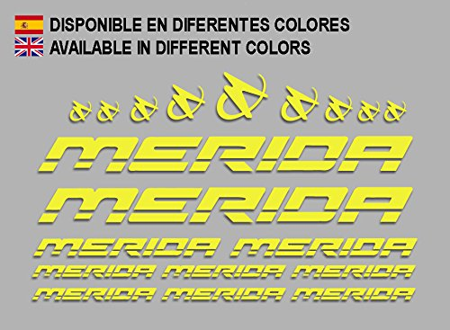 Ecoshirt FY-O30Q-R3W2 Adesivi Merida Frame Set Bikes F150 Stickers Aufkleber Decals Autocollants Adesivi MTB BTT, Giallo