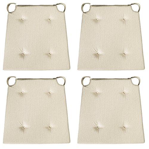 sleepling 4er Set Stuhlkissen/Sitzkissen für Indoor und mit Klettverschluss, Maße: 42 (vorne) / 35 (hinten) x 40 x 5 cm, beige