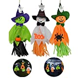 Halloween Decoration Hanging Ghost, Pumpkin Ghost Straw Windsock Pendant, Spook Pumpkin Fly Scarecrow Realistic Ghost Windsock, Halloween Prop for Patio Lawn Garden Party and Holiday Decorations 3Pack