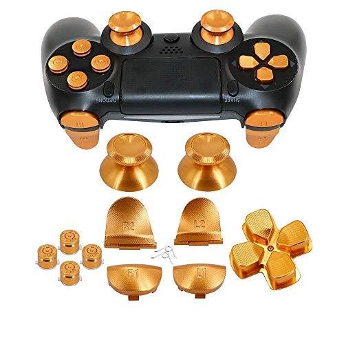 Canamite - Chiavette in metallo in alluminio, con impugnatura analogica, per joystick e proiettile ABXY e D-pad e L1 R1 L2 R2 Trigger per controller PS4 Gen 1 Playstation 4 (oro)