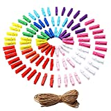 Gospire 100 Pieces Mini Colored Natural Wooden Clothespins Photo Paper Peg Pin Craft Clips with Twine