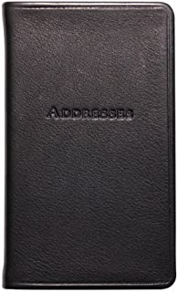 5 Inch Leather Bound Pocket Address Book, Genuine Calfskin Leather, 750 Entries, Black