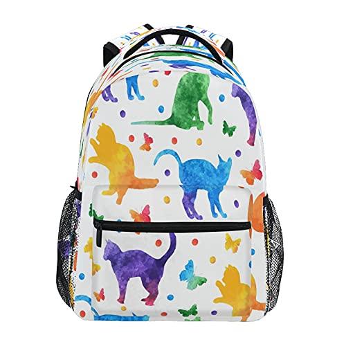Mochila para niños y niñas, colorida acuarela lindos gatos y mariposas, mochila escolar para niños preescolar, jardín de infantes, elemental con correas acolchadas ajustables
