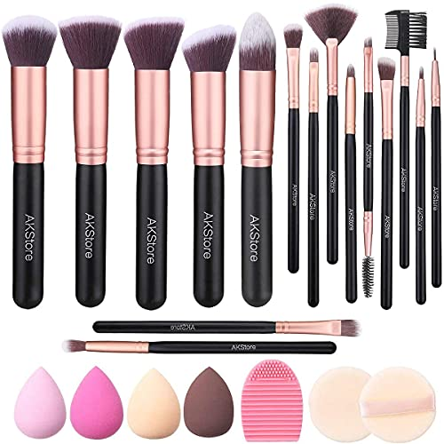 Akstore Makeup Brushes 14 Pcs Makeup Brush Set Travel makeup brush set with 4 Makeup Sponge Blender 2 Makeup Foundation...