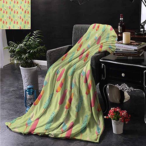 ZSUO Kinderdeken Chocolade Overdekt IJs met Kleurrijke Kleine Dots Bevroren Woestijn Wafelkegels Extra Gezellig, Machine Wasbaar, Comfortabel Huisdecoratie