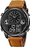 ACONAG Relojes Deportivos Militares Hombres Marca crono Cuenta Regresiva cronómetro de Lujo Reloj electrónico DIRIGIÓ Reloj de Cuero Genuino de Reloj Digital. (Color : Brownblack)