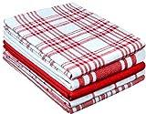 Clinique du coton Torchons de Cuisine Absorbant 40 x 70 cm, 100% Coton Serviettes de Cuisine qualité Professionnelle, Lavable en Machine, Rouge Blanc - Lot de 5