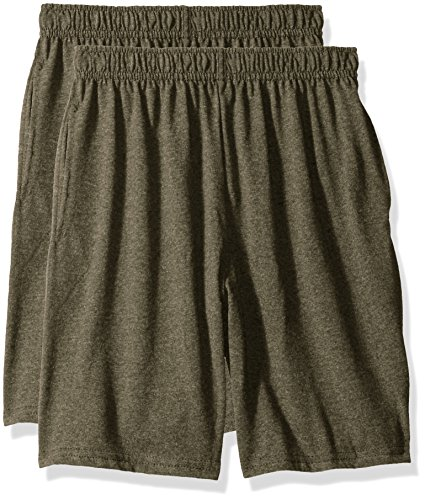 Hanes Big Boys' Jersey Short (Pack of 2), Camouflage Green Heather, L