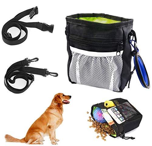 QIMMU Hundefutter Taschen,Hunde Leckerlitasche,Futterbeutel für Hunde Training,Leckerlibeutel fur Hunde mit Zusammenklappbare Hundenapf,Verstellbare Taillen und Schultergurte