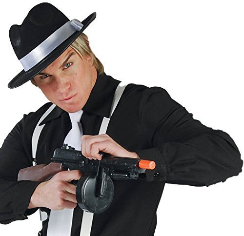 Toy Black Brown Gangster Machine Gun 1920s Great Gatsby Bugsy Malone Fancy Dress Weapon Accessory Prop