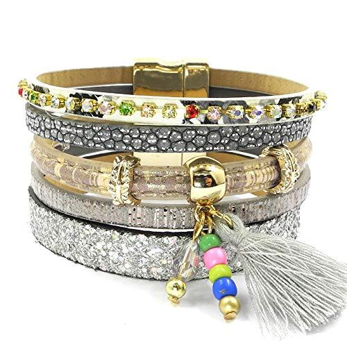GUOZHIJUN Leren armband 5 kleuren voor vrouwen charm armbanden Bohemian stijl armbanden sieraden voor vrouwen