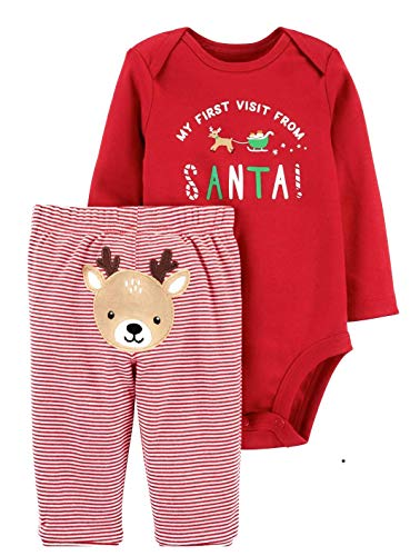 Carter's Baby My 1st Christmas Reindeer 2-Piece Bodysuit Pants Set 12 Months Red