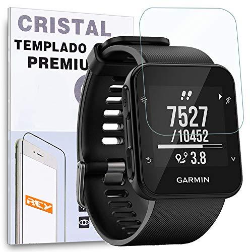 REY Protector de Pantalla para Garmin Forerunner 35 - Forerunner 30, Cristal Vidrio Templado Premium