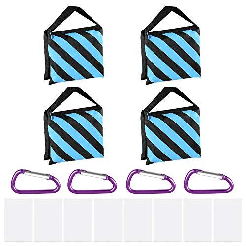 Neewer 4-Pack Bolsas de Arena para Fotografía Diseño de 4 Bolsas de Peso para Fotografía Video Estudio Patio Fuera de Casa Deportes Bolsa y Clips Incluidos (Azul)