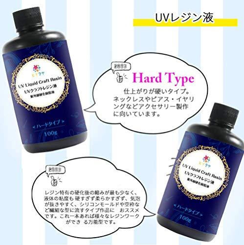 ヒマラヤUVレジン液100gハードタイプ成分のグレードアップ刺激臭なし調色パレット2枚/調色スティック2本/ノズル付透明レジンクラフト