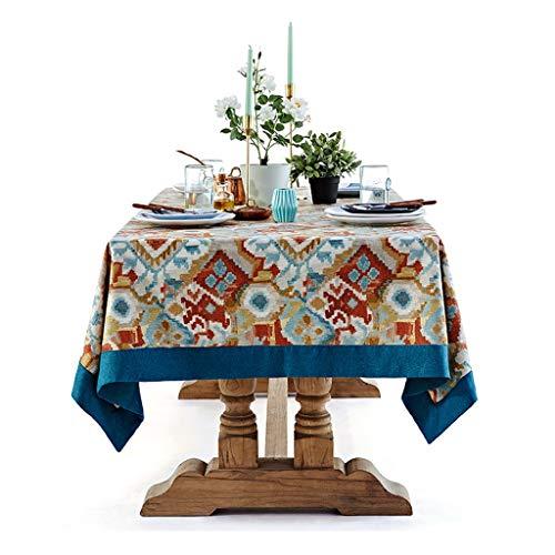 Ljf Mantel Cubierta de la Tabla Mesa de Centro Mantel Tela Mantel Rectangular Personalidad Manteca Anti-incrustante Mantel Totem hogar (Color : Blue, Size : 140 * 210CM)