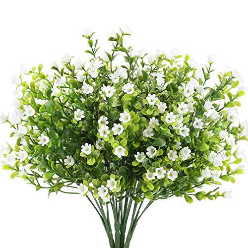 HUAESIN 4pcs Arbustos Artificiales Exterior Interior Plastico Flores Artificiales Blancas Plantas Decorativas para Jarrones Balcon Fiesta Cocina Baño Mesa Boda Bautizo Hogar Terraza Jardinera