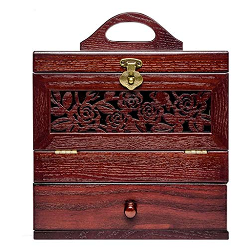 Boîte de rangement pour cosmétiques ménage en bois grande capacité rétro étagère à langer en bois de grande capacité avec miroir (couleur: A)