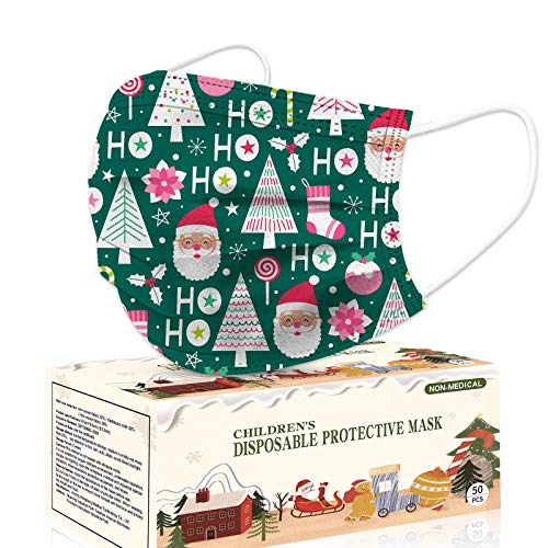 Christmas Kids Disposable Face Mask, 50pcs 3 Layers Disposable for Children Protection Safety Face Masks