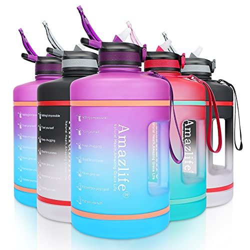Amazlife 1gallon Water Bottle with Straw Leakproof Large Water Jug with Motivational Time Marker Handle Strap 128oz BPA Free Big Water Bottles Reusable Portable Drink Sports Spout For Gym Fitness