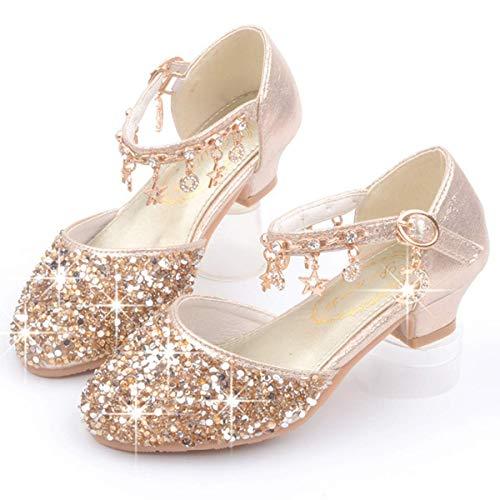AIYIMEI Zapatos de Tango Latino para Nios Vestir Fiesta Princesa Sandalias Lentejuelas Zapatitos de Tacn Beb Nia Primavera Verano Zapatillas de Baile Nias EU26-38