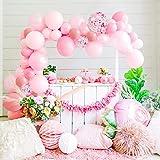 MMTX Kit Guirnalda Arco Globos, Globos de Cumpleaños Rosa Decoracion Cumpleaños Niña para Bodas, Feliz Cumpleaños, Aniversario, Decoraciones de Fiesta, Baby Shower