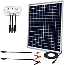 ECO-WORTHY [Upgraded 25 Watts 12V Off Grid Solar Panel SAE Connector Kit: Waterproof 25W Solar Panel + SAE Connection Cable +USB Controller for Light, Gate Opener, Chicken Coop,12V Deep Cycle Battery