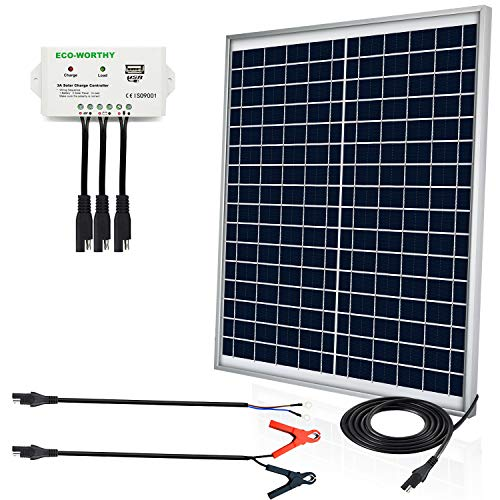ECO-WORTHY [Upgraded] 25 Watts 12V Off Grid Solar Panel SAE Connector Kit: Waterproof 25W Solar Panel + SAE Connection Cable +USB Controller for Light, Gate Opener, Chicken Coop,12V Deep Cycle Battery