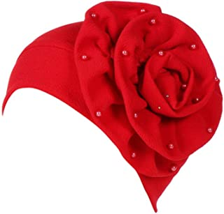 CHIDY Women Beading India Hat Muslim Ruffle Trend Flower Pearl Accessories Cap Beanie Scarf Turban Wrap Cap