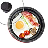 Elite Gourmet Personal Nonstick Stir Fry Griddle Pan Non-stick Electric Skillet with Tempered Glass Vented Lid, 8.5