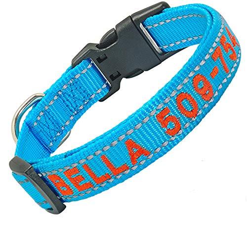 Didog Collar de perro bordado personalizado con nombre de mascota y número...