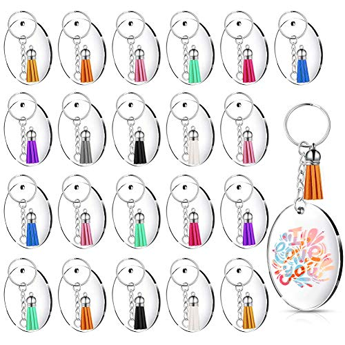 BigOtters Acrylic Keychain Blanks, Acrylic Transparent Circle Discs 120pcs Clear Keychains Including 30pcs Acrylic Blanks, 30pcs Keychain Tassels, 30pcs Key Chain Rings and 30pcs Jump Rings for DIY Keychain Crafting