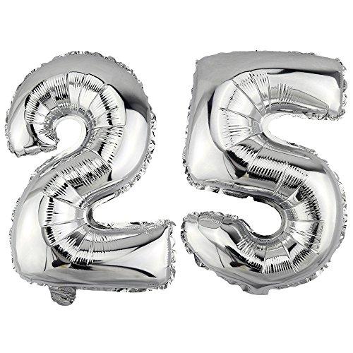 DekoRex Palloncino stagnola nomero 25 Argento 80cm per l'aria Compleanno Decorazione