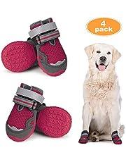 Dociote Zapatos para Perros, 4Pcs Perro Botas con Suela Antideslizante, Correas Resistente, Cierre de Velcro, Impermeables Protectores de Patas para Perros Medianos y Grandes Verano