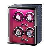 ZHBH qwertyuio Cajas de Reloj para Hombre Caja de enrollador de Reloj 4 Adaptador automático de Corriente alterna para Reloj y Luces Coloridas alimentadas por batería Almohadas de Reloj Ajustable