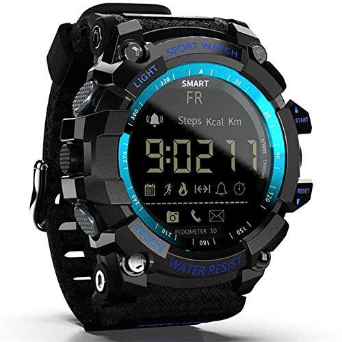 TYUI Reloj inteligente deportivo IP67, resistente al agua, rastreador de salud, Bluetooth, recordatorio de información, podómetro, análisis de sueño, compatible con teléfonos Android e iOS, color azul