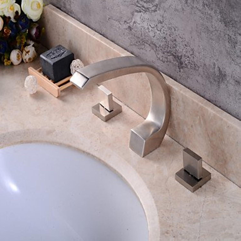 Waschbecken Wasserhahn@Zeitgenssisch 3-Loch-Armatur Breite spary with Keramisches Ventil Drei Griffe Drei Lcher for Gebürsteter Nickel , Waschbecken , 24