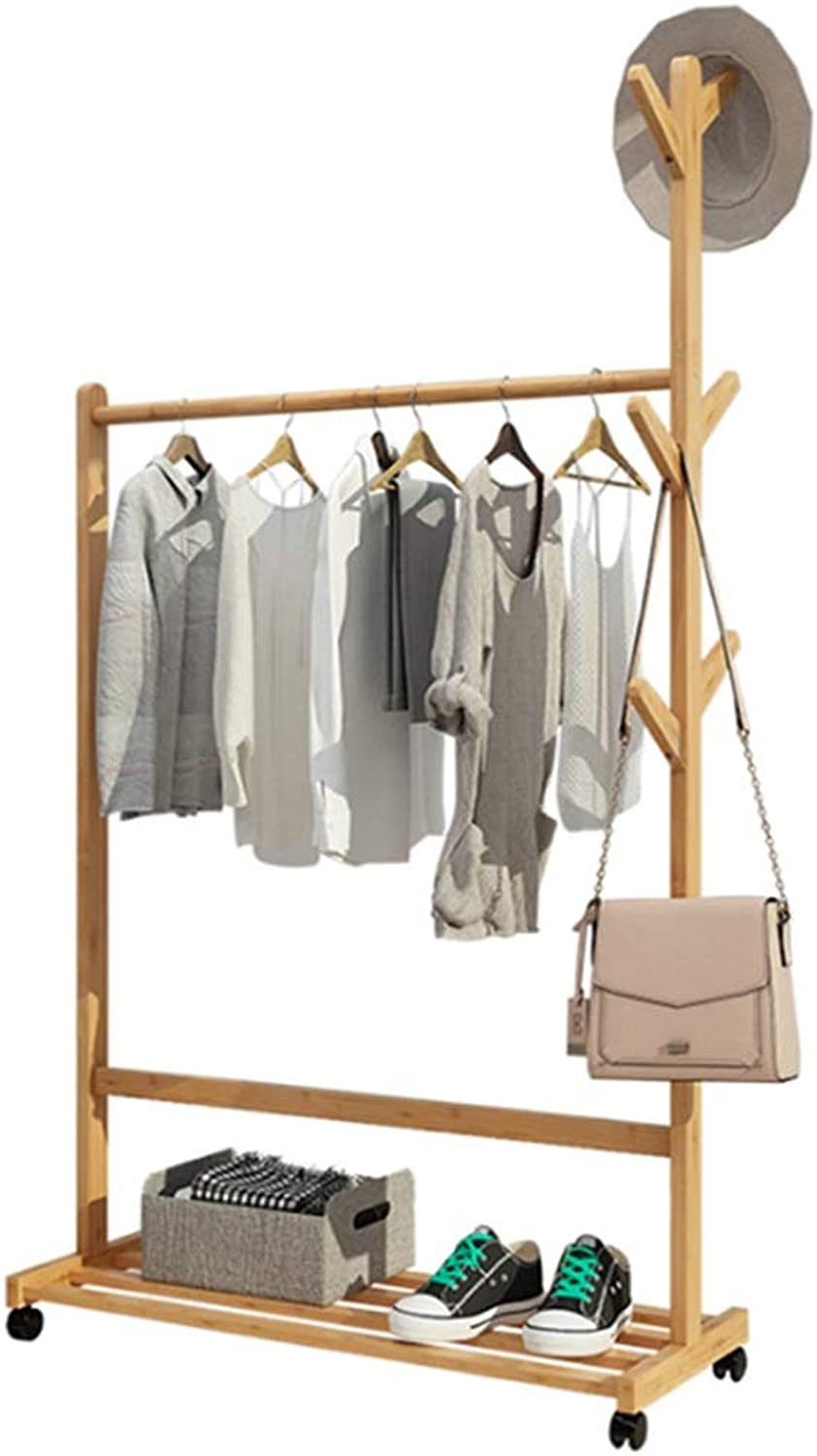 Standing Coat Racks Bamboo Floor Bedroom Hanger Home Clothes Rack Simple Coat Rack Solid Wood Multifunctional Mobile Storage Rack -0223